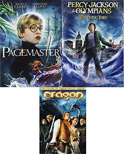 Fantasy Triple Pack Percy Jackson & The Olympians: The Lightning Thief + Dragon & The Pagemaster Movie DVD Feature Bundle ()