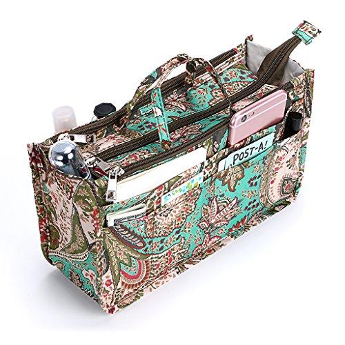IGNPION Printed Insert Handbag Purse Organiser 13 Pockets Expandable Liner...