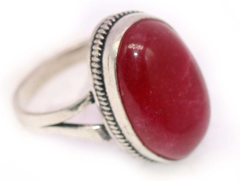 Vedika Overseas 925 Sterling Silver Overlay Garnet Latest Design Ring For Womens /& Girls