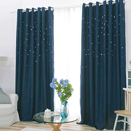 Delicieux Nibesser Faux Linen Laser Cutting Hollow Star 90% Blackout Thermal  Insulated Kids Bedroom Curtains /
