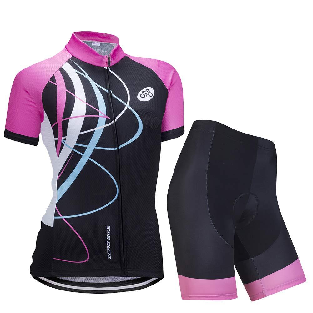 Ciclismo Magliette Corta Jersey Camicia 3D Gel Imbottito Pantaloncini Ciclismo Equitazione Bike Sportswear Donne Manica Corta Jersey Abbigliamento Set