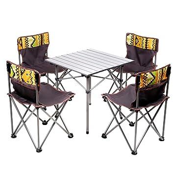 ZH Bases de portátiles Juego de mesa y silla plegables para ...