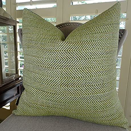 Thomas Collection Lime Green Zig Zag Luxury Throw Pillow Designer Decorative Pillow For Couch Sofa Bed INCLUDES POLYFILL INSERT Made In USA 11356