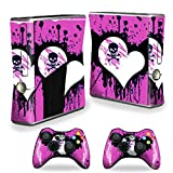 xbox 360 slim skins for console - MightySkins Protective Vinyl Skin Decal Cover for Microsoft Xbox 360 S Slim + 2 Controller skins wrap sticker skins Poison Heart