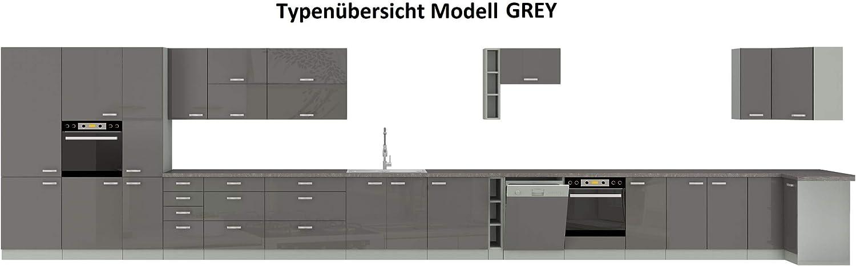 K/üchen H/ängeschrank 60 Grey Hochglanz Grau K/üchenzeile K/üchenblock K/üche Vario