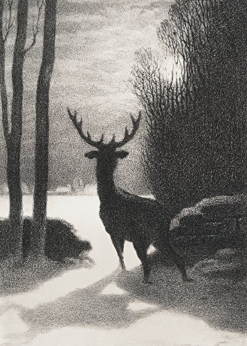 Stag In Winter Moonlight - 5 x 7 Christmas Museum Card