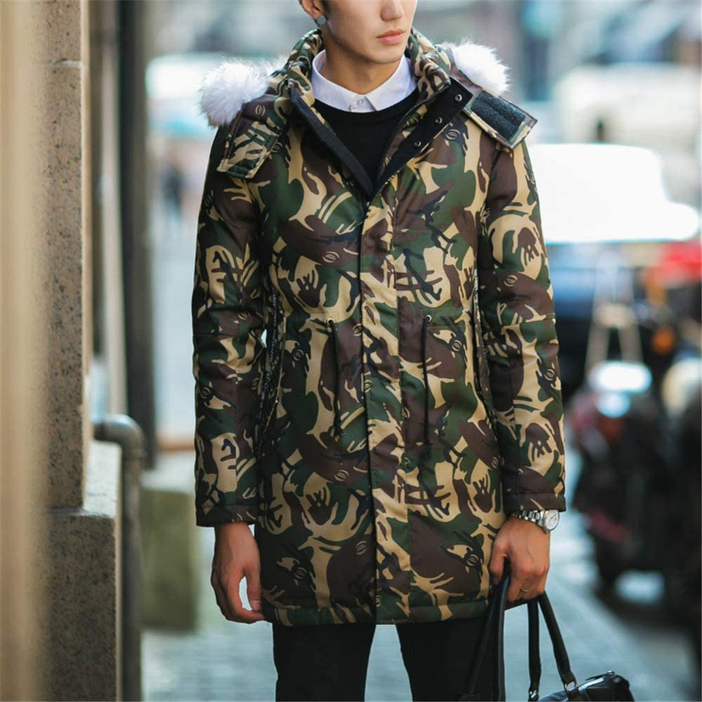 Loqono Winter Men Camouflage Pattern White Duck Jacket Long Hooded Warm Down Jacket