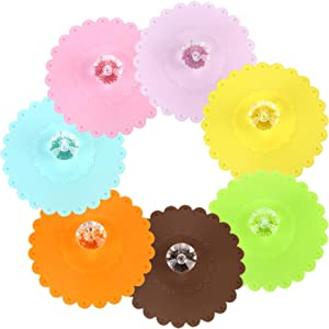Luxtrip 7 PCS Dust-proof silicone glass lid Cup of coffee Beverages LIDS Mark lid Chuck Sealing cap New cute Food-grade silicone lid