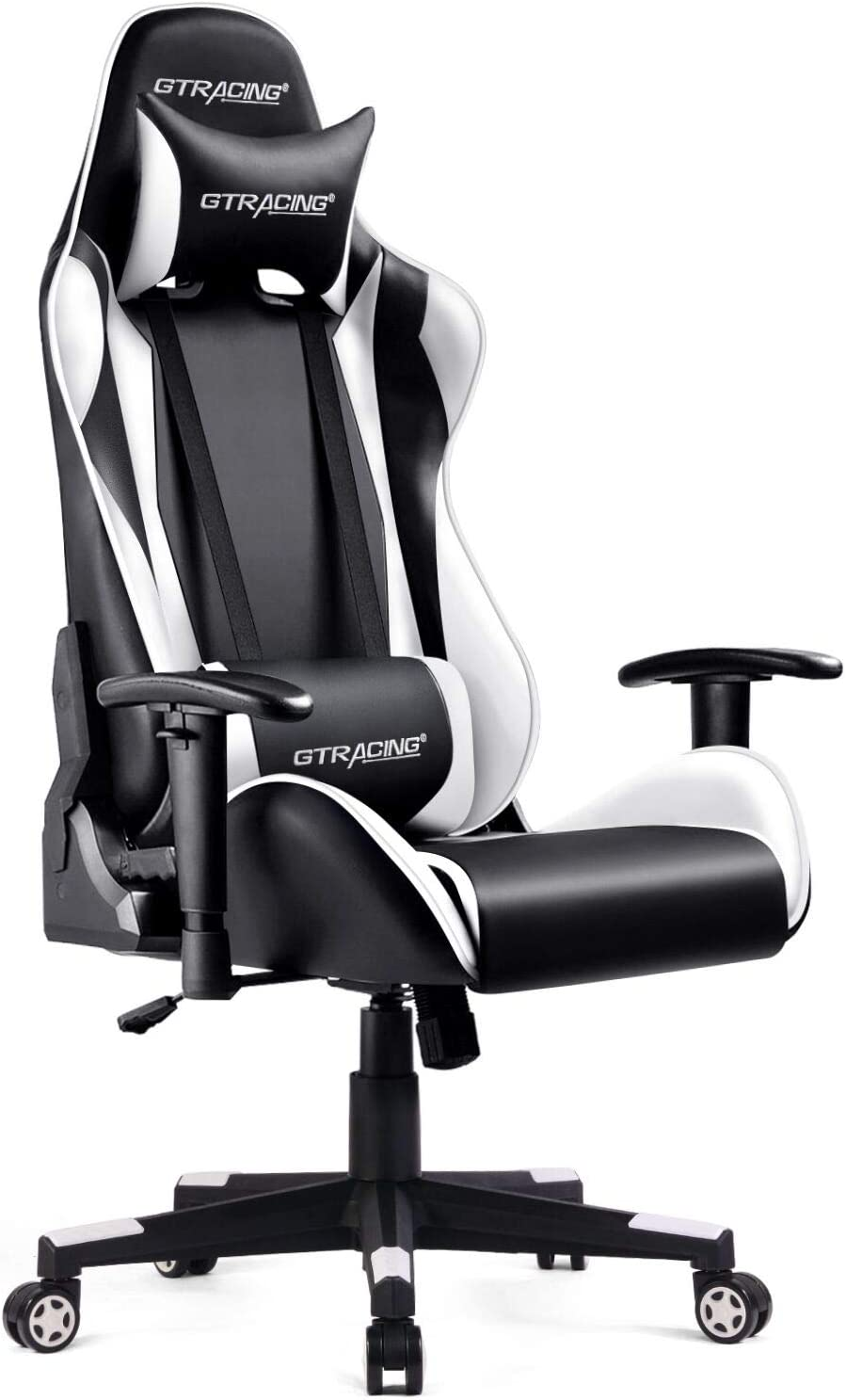 GTRACING Gaming Chair Racing Computer Multi-Function Executive Chair with Headrest Lumbar Support Pillows Recliner Swivel Rocker Tilt E-Sports Black &White