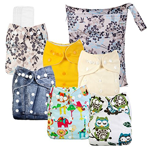 Mumsbest One Size Adjustable Washable Reusable Baby Pocket Cloth Diaper Covers 1 Wet Bag + 6 Inserts + 6 Cloth Diapers
