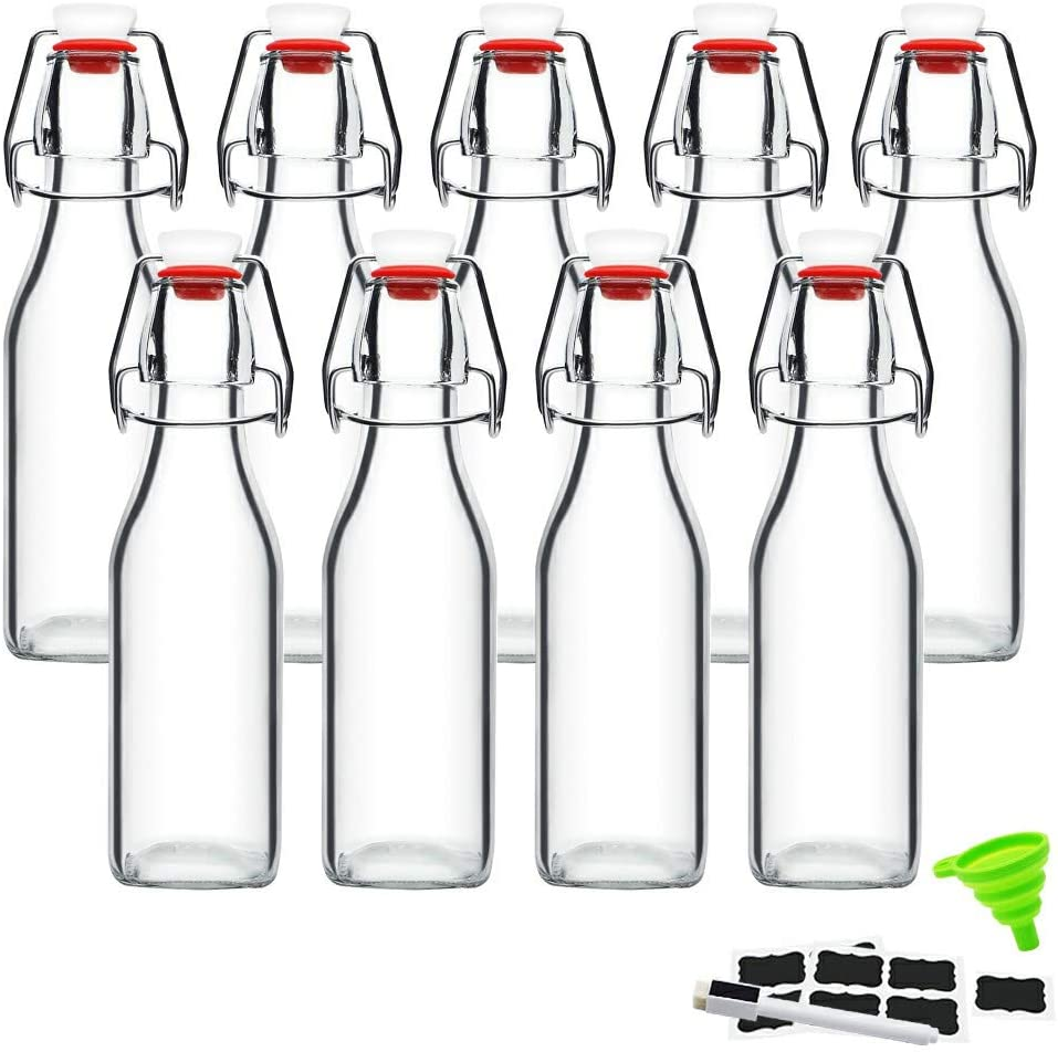 Swing Top Glass Bottles 8 oz with Airtight Lids for Home Brewing, Kombucha, Kefir, Vanilla Extract, Beer, Oil, Vinegar, Homemade Juices, Water,Soda Set of 9