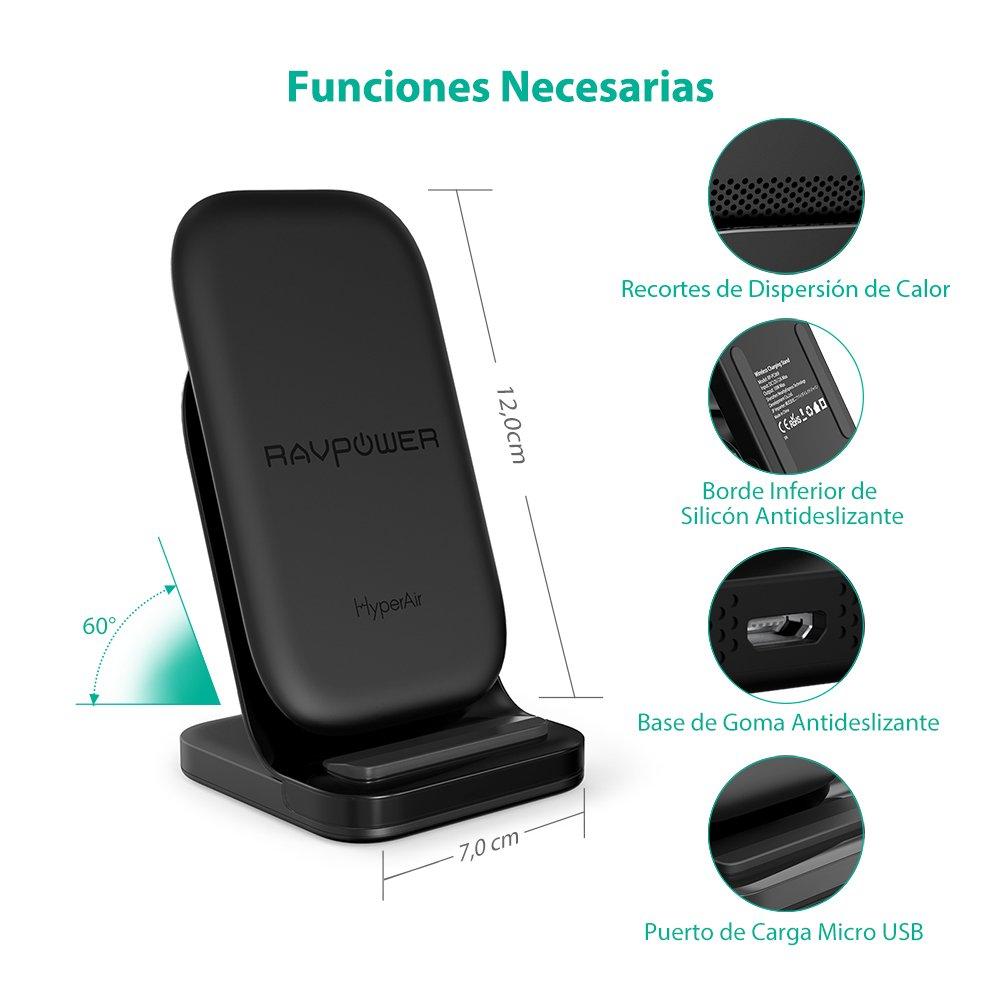 Base de Carga Inal/ámbrica Qi de 10W Compatible con el Galaxy S9 S8 Note 8 Cargador Inal/ámbrico R/ápido HyperAir de RAVPower Adaptador QC 3.0 Incluidos hasta 7.5W