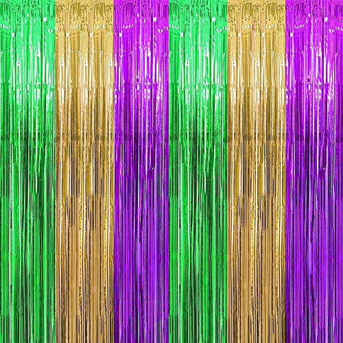 Jblcc 2PCS Mardi Gras Foil Fringe Curtains - Mardi Gras Party Supplies