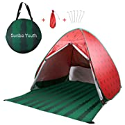 Sunba Youth Beach Tent, Beach Shade, Anti UV Instant Portable Tent Sun Shelter, Pop Up Baby Beach Tent, for 2-3 Person (RED)