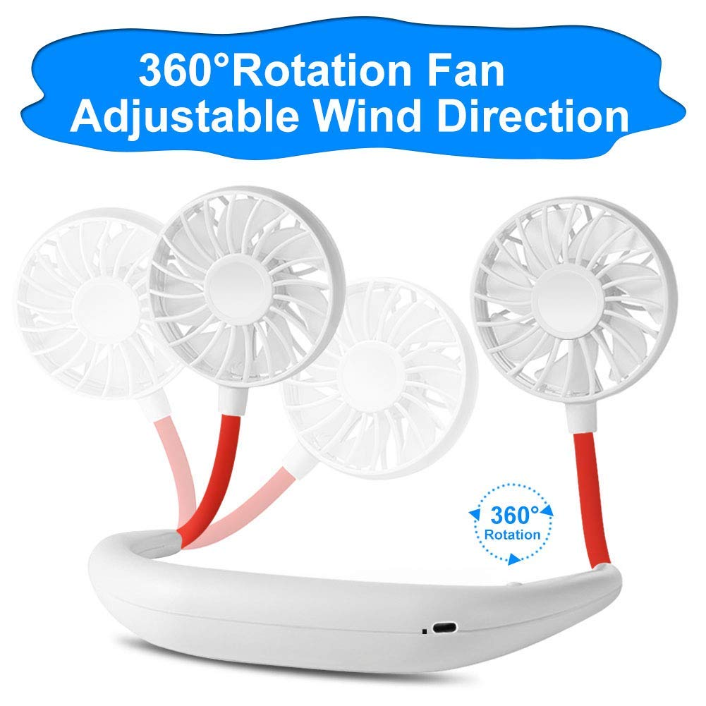 USB Fan Portable Hand Free Neck Fan,Rechargeable Battery Wearable Neckband Fan with USB Cable 3 Speeds and 360/°Adjustable Swivel Cooling Fan for Traveling Sport Outdoor Home