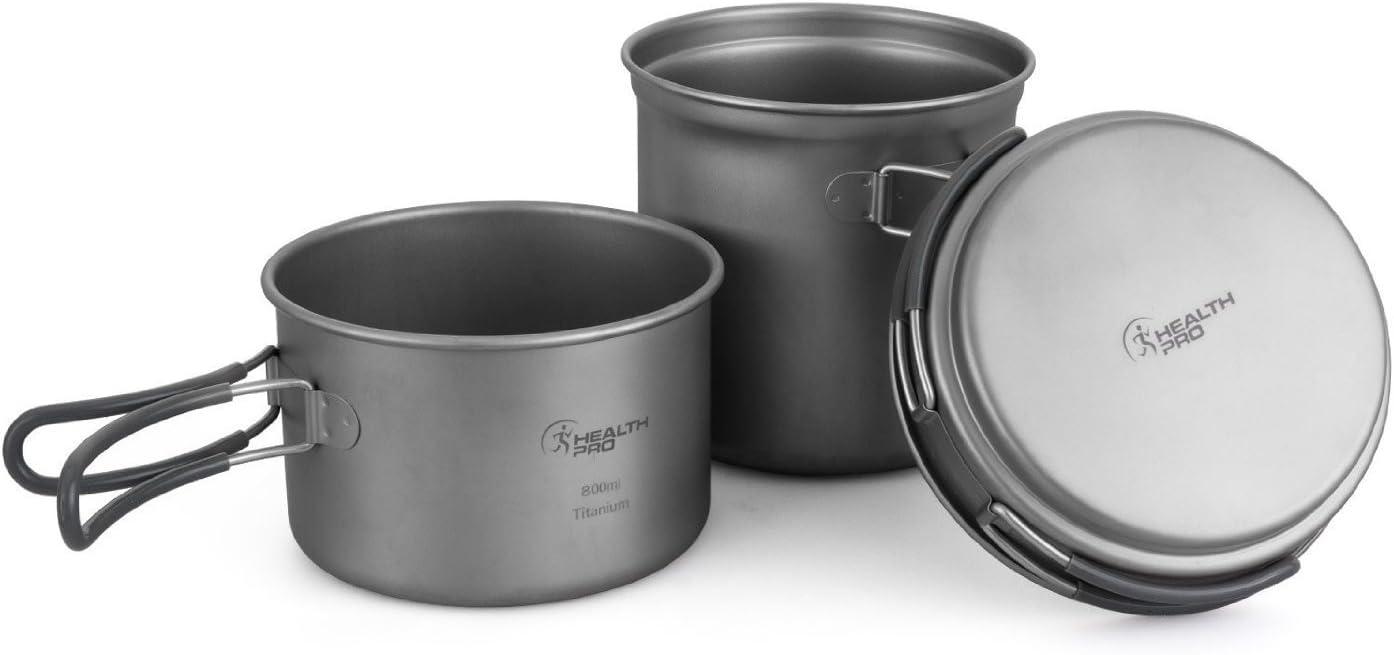 Juego HealthPro de 3 piezas de utensilios de cocina para acampar, olla y sartén ligeros de titanio