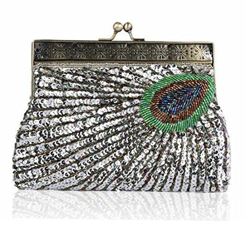 de Clutch Femmes soirée main Perles sac Tsutou à Silver Sac Sequin Peacock xzq16B1