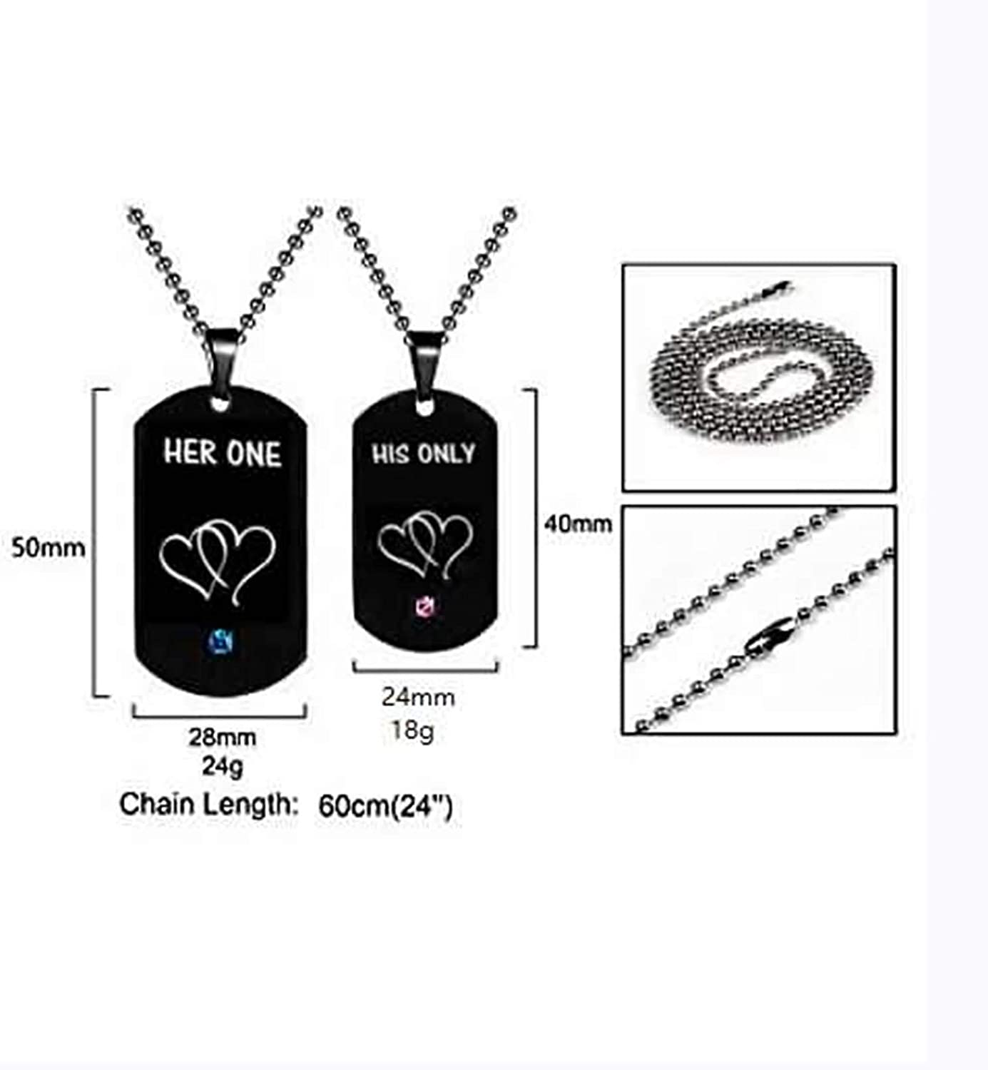 Aokarry 316L Stainless Steel Chain Necklace for Men Black Ball Chain for Men Necklace 24IN