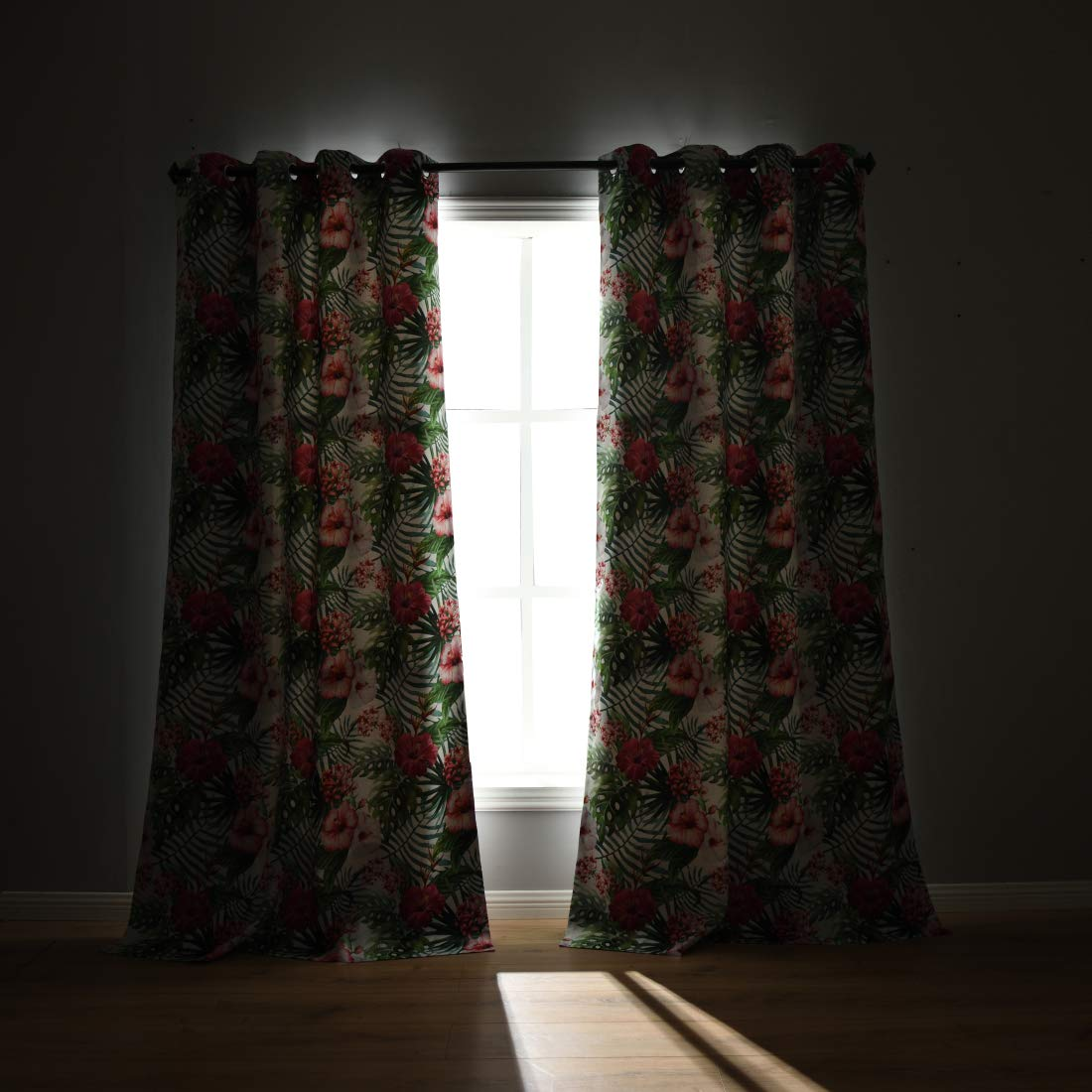 W52 x L84 inch Green Curtains 2 Panels with 2 Tiebacks QQHOME Fresh Country Style Printed Design Room Darkening Blackout Curtain Panels Grommet Top