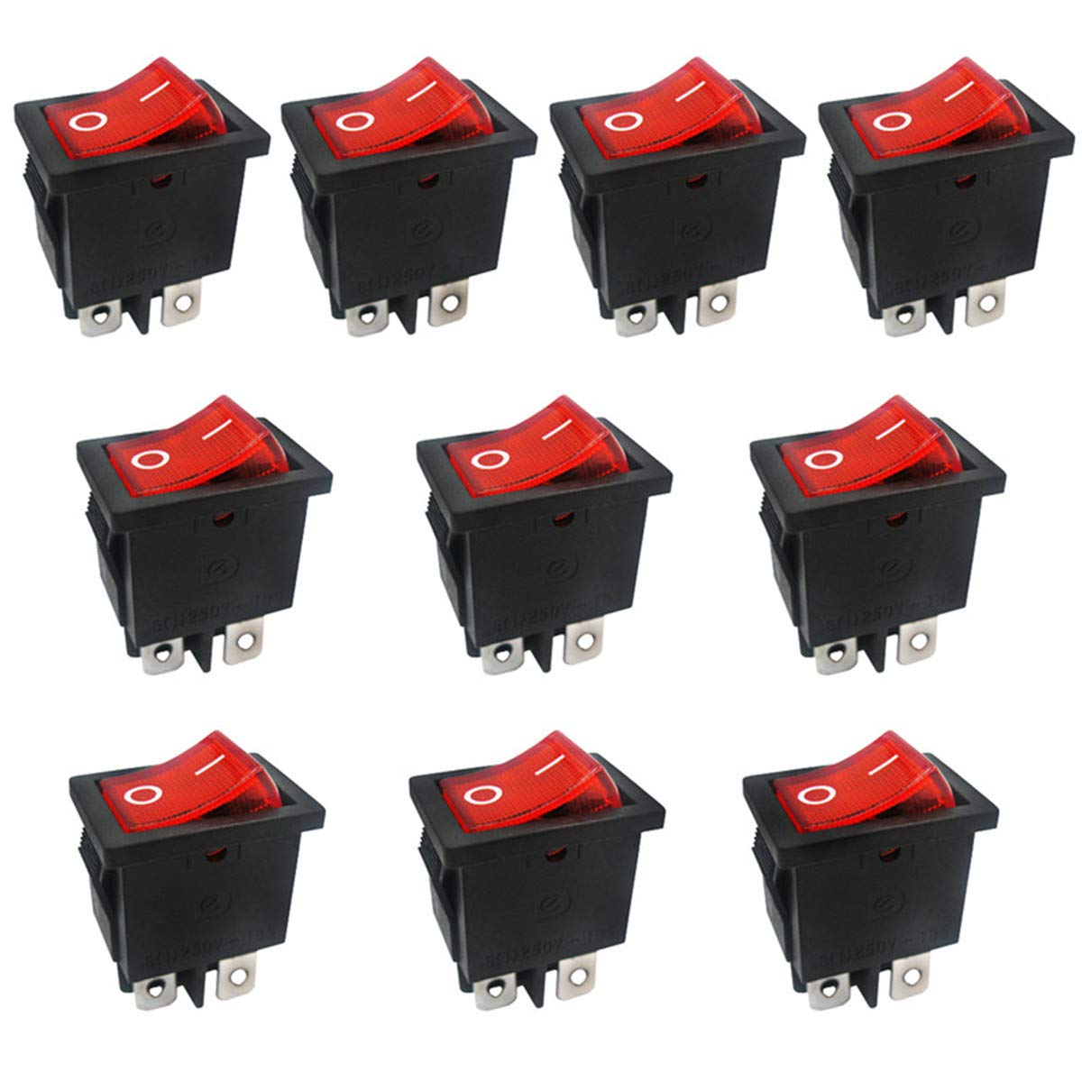 2Pcs Red Lamp 3Pin ON//OFF 2 Position Rocker Switch 10A//250VAC Panel Mount