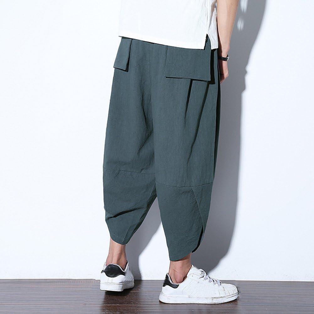 LandFox-Pantaloni Lino Pantaloni Casual da Uomo Regular Fit Elastici Perfetti per Sportivi Pantaloni Allentati alla Moda della Caviglia dei Pantaloni di Tela della Tasca Stile Giapponese