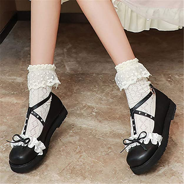 Details about  /Womens Girls Bow Knot Round Toe Buckle Strap Cosplay Lolita Ballet Shoes Fashion