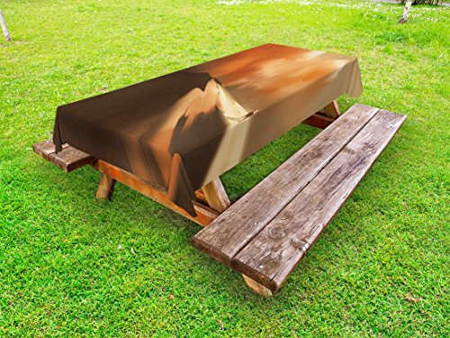tdoor Tablecloth, Mysterious Shadow Man Walking through Sand Storm in Desert Hiking Wind Hot Image Art, Decorative Washable Picnic Table Cloth, 58 X 120 Inches, Cream (Hot Mama Shadow)