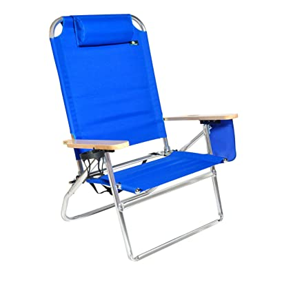 Tremendous Extra Large High Seat 3 Reclining Position Aluminum Heavy Duty Beach Chair With Cup Holder 300 Lbs Capacity Theyellowbook Wood Chair Design Ideas Theyellowbookinfo
