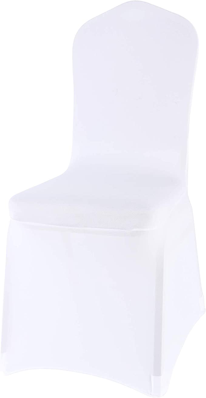 Monrise 12 Pcs White Spandex Chair Covers Wedding Universal - Polyester Stretch Slipcover for Banquet Party and Hotel Decoration Elastic Chair Covers