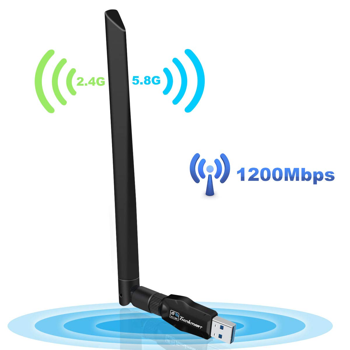 USB WiFi Adapter 1200Mbps, USB 3.0 Wireless Network Adapter Dual Band 2.4GHz/300Mbps+5GHz/867Mbps for Desktop Laptop Win7/8/8.1/10/Mac 10.4-10.13 by Thinkmart