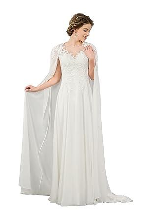 Vinatge Ivory V Neck Lace Appliques Long Soft Chiffon Wedding Dress with Cape