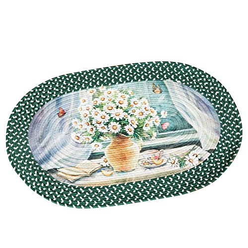 Collections Etc Daisy in Vase Green and White Braided Rug, 19 1/2