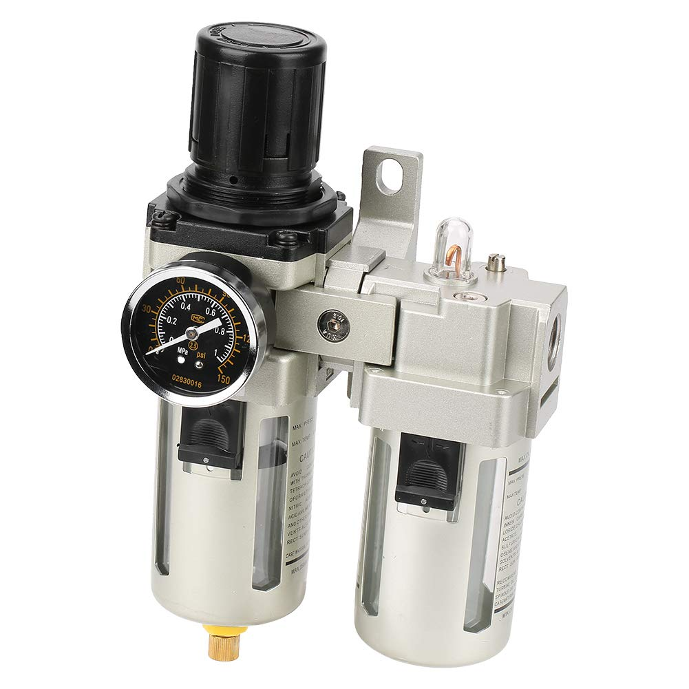 AC4010-04 G1/2 Air Source Gas Overflow Type Treatment Unit Filter Pressure Regulator with Gauge by Zouminy