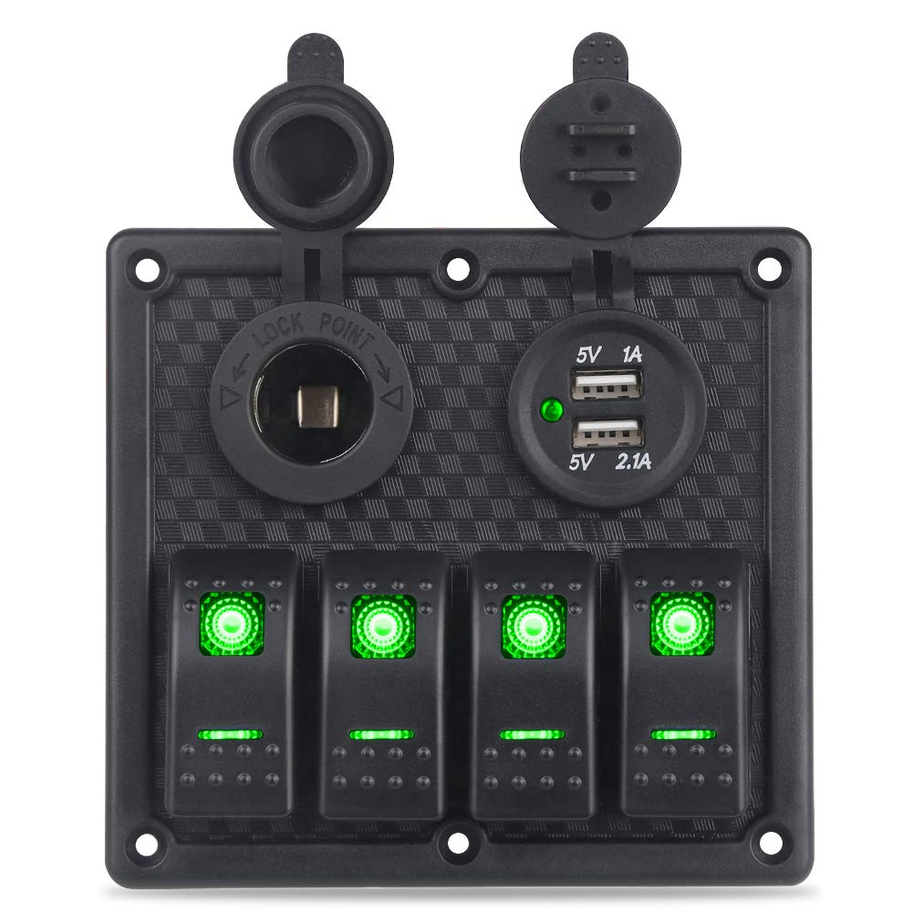 WATERWICH Waterproof 4 Gang Marine Ignition Toggle Rocker Switch Panel with 3.1A Dual USB Charger Adatper Cigarette Lighter Socket for Car Boat Vehicle Truck Yacht SUV Trailer(4 Gang Green) by WATERWICH