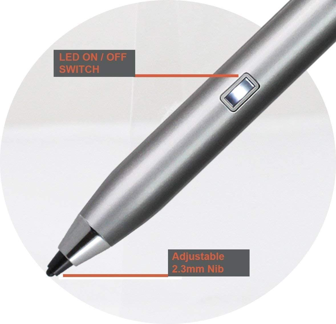Broonel Silver Mini Fine Point Digital Active Stylus Pen Compatible with The ASUS ROG Strix Hero III 15.6 Inch