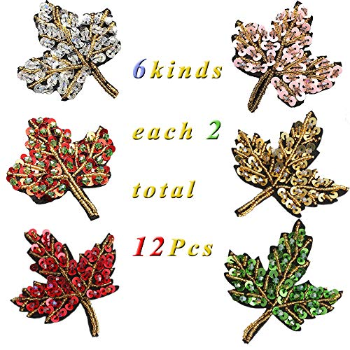 Embroidered Applique Patch Handmade Beaded Sequin Crystal Maple Patch Sew On Clothes Shoes Bags DIY Garment Accessories (12pcs Crystal Maple Leaf)