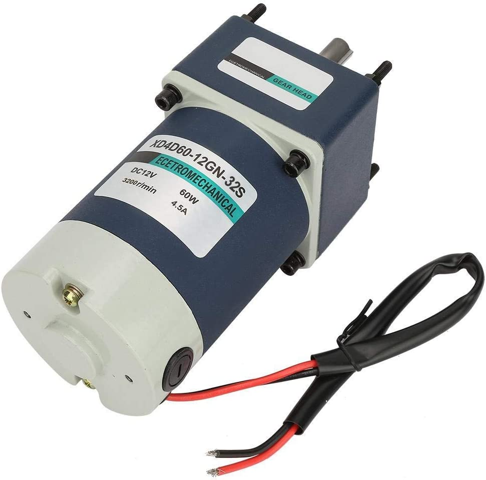 WXQ-XQ DC Gear Motor 50, 65RPM 12V 60W 3200RPM 1.8A 1.4kg.Cm High Torsion Adjustable Rate Metal Gear Permanent Magnet for Industrial Devices Home Applications