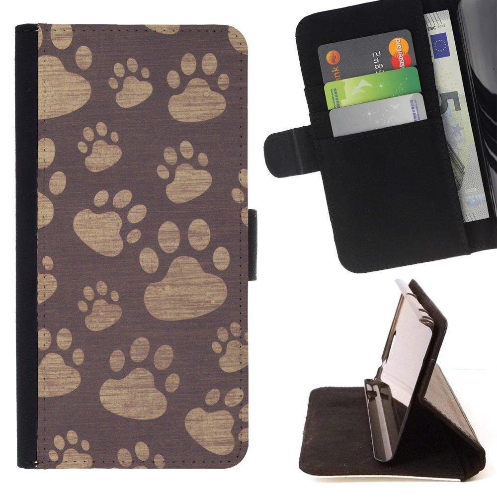 FJCases Paws Print Animal Slim Wallet Card Holder Flip Leather Case Cover for LG V20