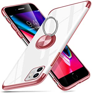 """ZHIYIJIA Apple iPhone 11 Case 6.1"""" 360 Degree Rotation Ring Holder Kickstand Phone Case Clear Shockproof Protection Soft Silicone TPU Bumper Cover Rose Gold"""