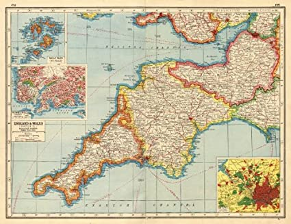 Map Of West Of England.South West England Devon Cornwall Somerset Inset Plymouth