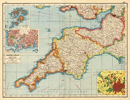 South Devon England Map.South West England Devon Cornwall Somerset Inset Plymouth