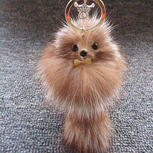 1 Set Mini Pocket Fluffy Crown Bowknot Fox Ball Keychain Keyring Keyfob Pompom Artificial Fur Key Chain Ring Fob Tag Holder Finder Necklace Paradisiac Popular Cute Wristlet Utility Keychains Tool