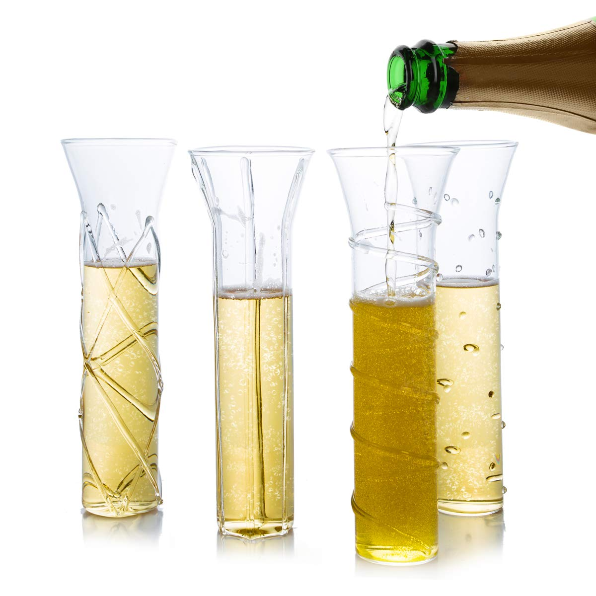 4 Pack Stemless Champagne Flutes 5 oz- Handmade Designs- 4 Unique Champagne Glasses for New Years Eve Party Decor - Celebration for Special Occasions