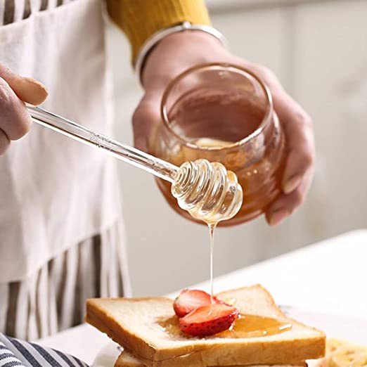 Noomer Honey Spoon Glass Wand Stirring Rod for Honey Pot Jar Containers 5.9 Inch Honey and Syrup Dipper Stick Server