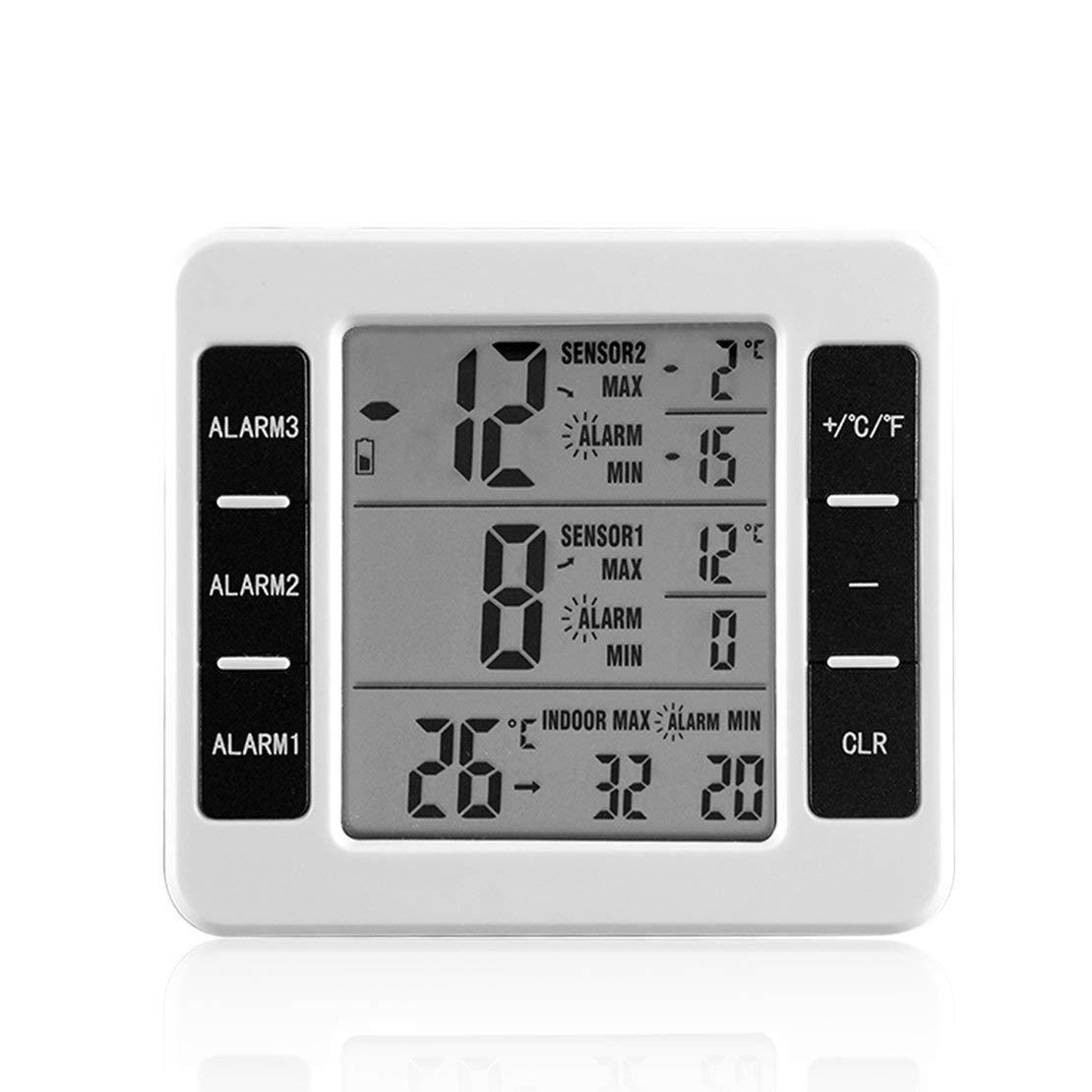 Sanzhileg Misuratore di Temperatura Esterno per Interni Misuratore di Temperatura per Esterni Tester per Stazione meteorologica con trasmettitore Wireless
