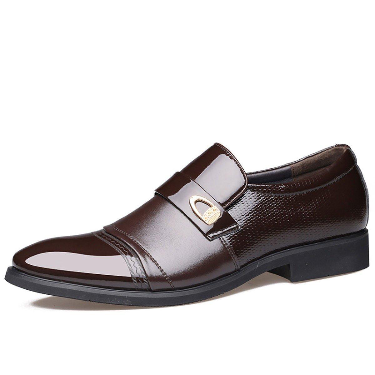 LEDLFIE Zapatos De Hombre Zapatos De Cuero De Vestir Hechos A Mano Zapatos De Hombre Zapatos Sueltos 40 EU|Brown