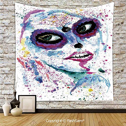 FashSam Tapestry Wall Hanging Grunge Halloween Lady with Sugar Skull Make Up Creepy Dead Face Gothic Woman Artsy Tapestries Dorm Living Room Bedroom(W59xL78) -