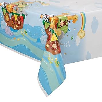 Noahu0027s Ark Baby Shower Plastic Tablecloth, 84u0026quot; ...