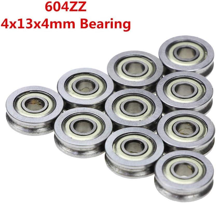 Size : 4 * 13 * 4mm 10Pcs 3D-Drucker Extruder Teile U-Nut Umlenkrolle Riemenscheiben-Lager U604ZZ U Ditch 604U NO LOGO XIAOWU-LUN
