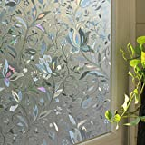 Leyden 24-by-72-Inch Cut Glass Tulips Pattern No-Glue 3D Static Decorative Glass Window Films